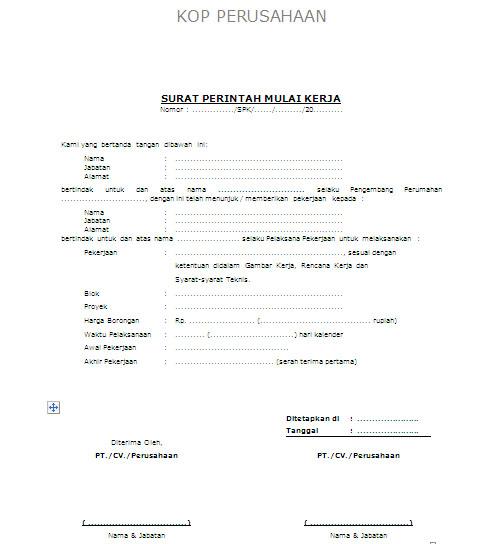 Surat Perintah Mulai Kerja
